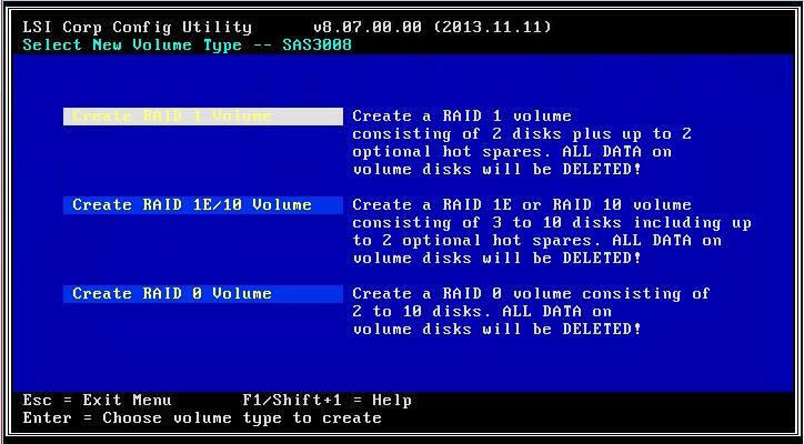 Выбор нового типа тома - Создать RAID 1