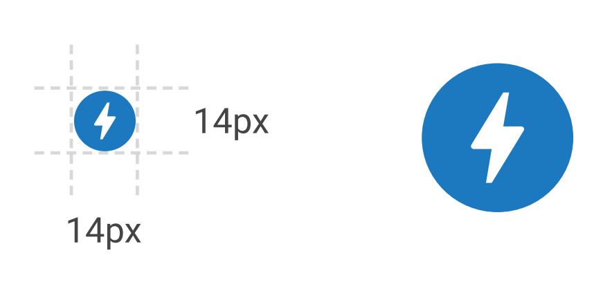 Минимальный размер иконки AMP 14 на 14 пикселей