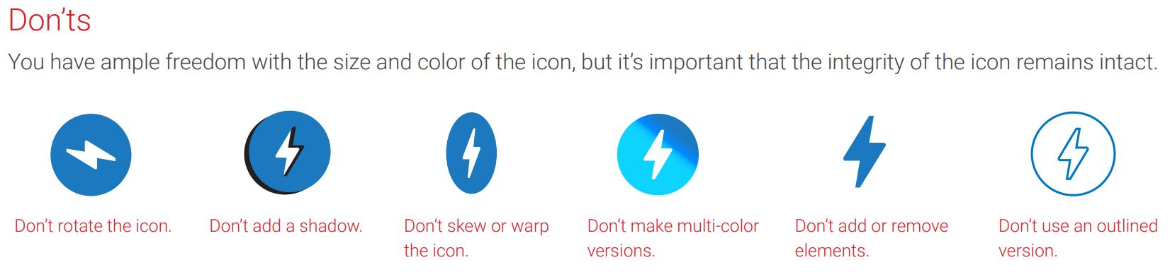 Что нельзя делать со значком AMP?