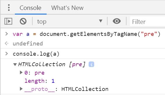 Получаем HTML-коллекцию элементов pre со страницы
