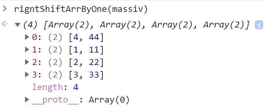 Вызвали функцию сдвига элементов массива на 1 вправо