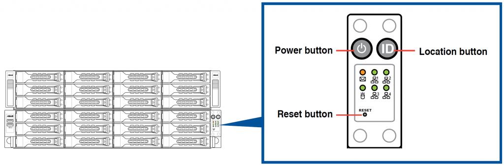 Кнопки передней панели сервера хранения данных ASUS RS540-E8-RS36-ECP