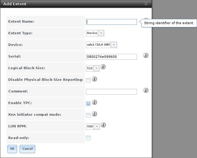 Добавление экстента iSCSI в FreeNAS