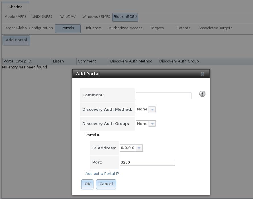 Добавление iSCSI-портала в FreeNAS