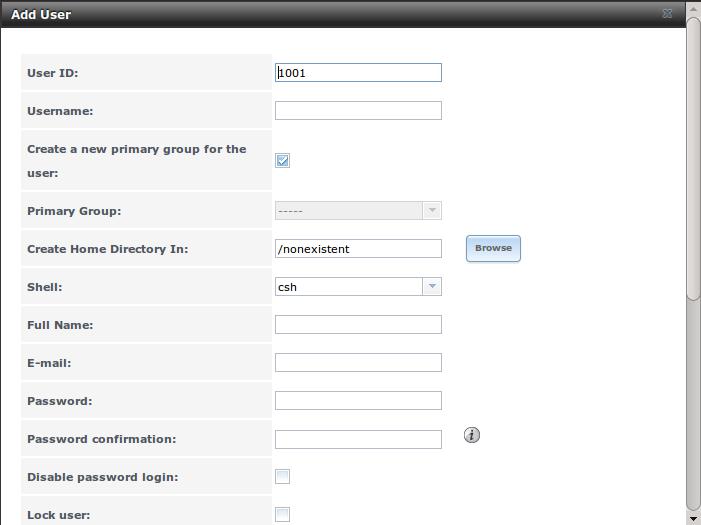 Добавление или редактирование учетной записи пользователя в FreeNAS