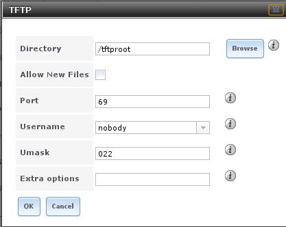 Экран конфигурации TFTP в FreeNAS