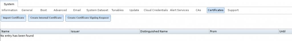 Экран начальных сертификатов в FreeNAS