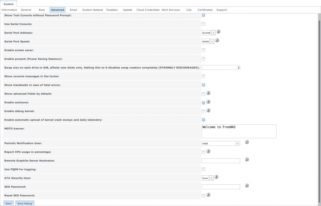 Экран расширенных настроек Advanced в FreeNAS