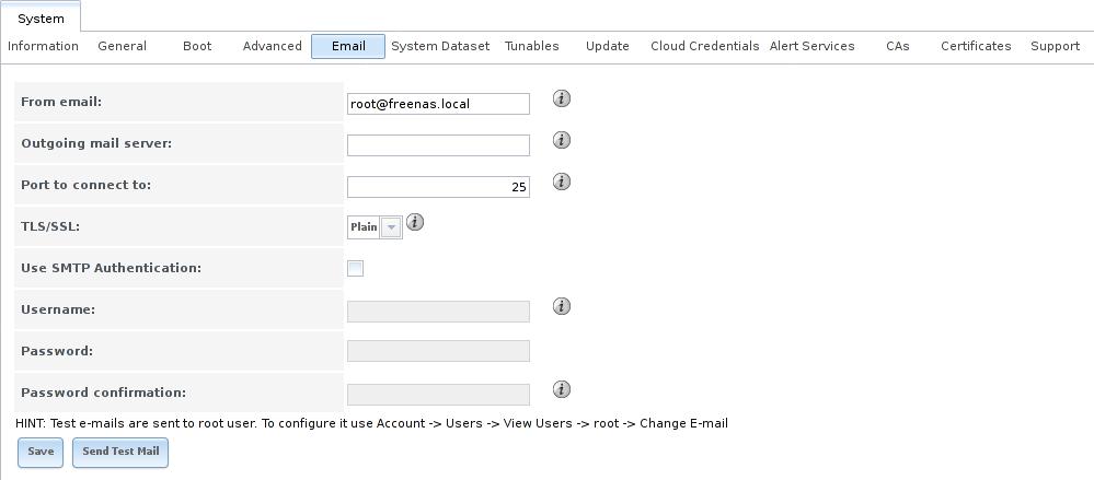 Конфигурация почты в FreeNAS