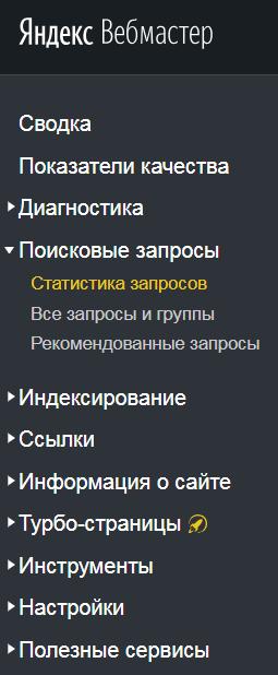 Меню сервиса Яндекс Вебмастер на ноябрь 2018
