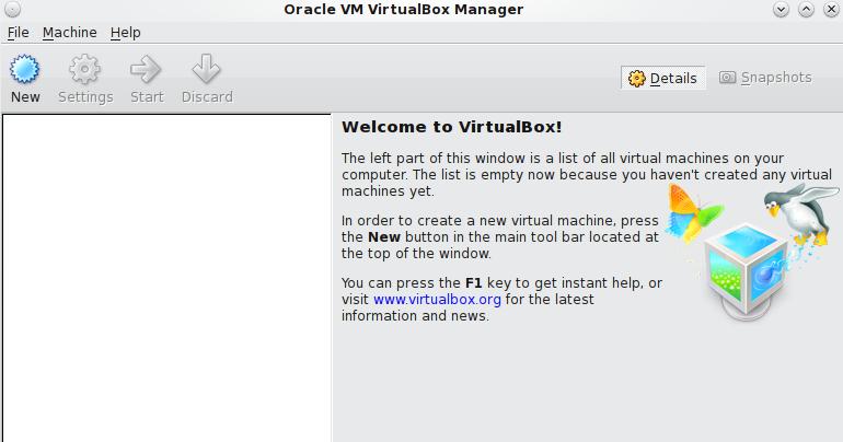 Начальный экран VirtualBox