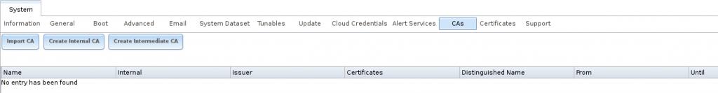 Начальный экран центра сертификации CA в FreeNAS
