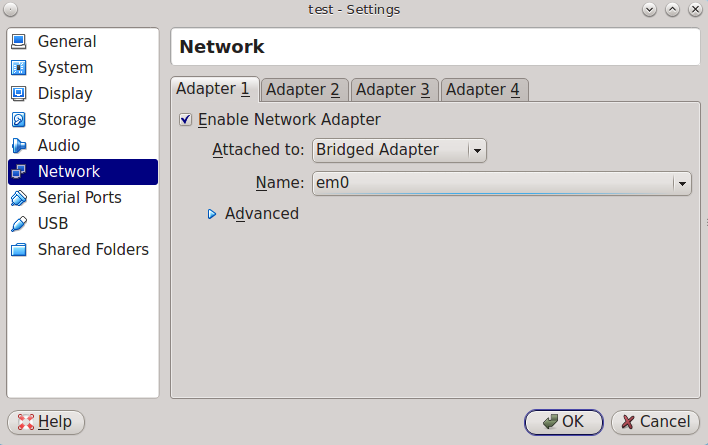 Настройка мостового адаптера в VirtualBox