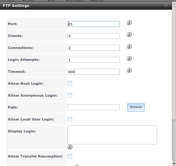 Настройки FTP в FreeNAS