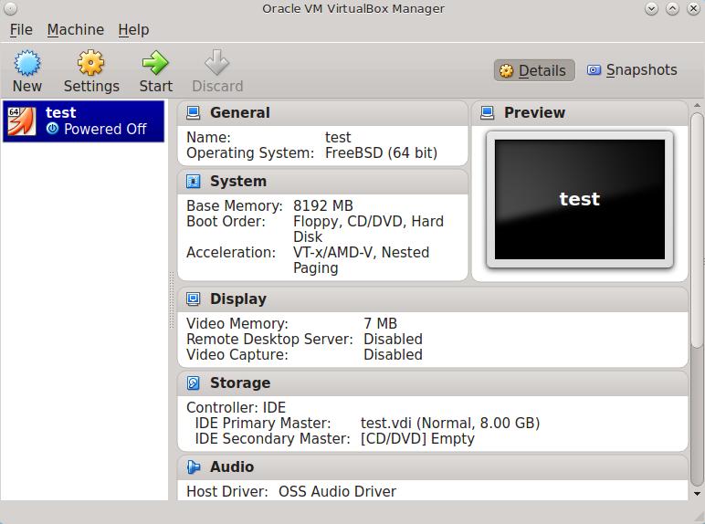 Новая виртуальная машина Virtualbox в FreeNAS