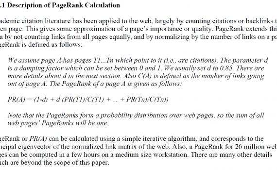 Описание расчета PageRank Google