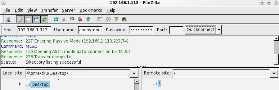 Подключение с помощью Filezilla