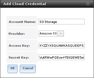 Пример добавления облачных учетных данных в FreeNAS