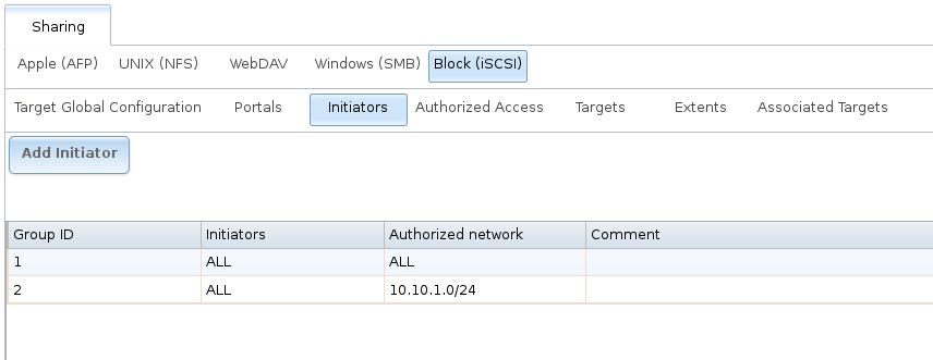 Пример конфигурации инициатора iSCSI в FreeNAS
