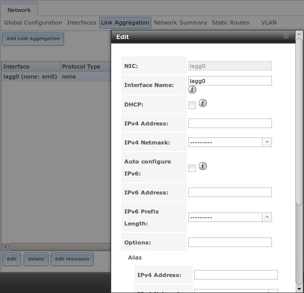 Редактирование lagg интерфейса в FreeNAS