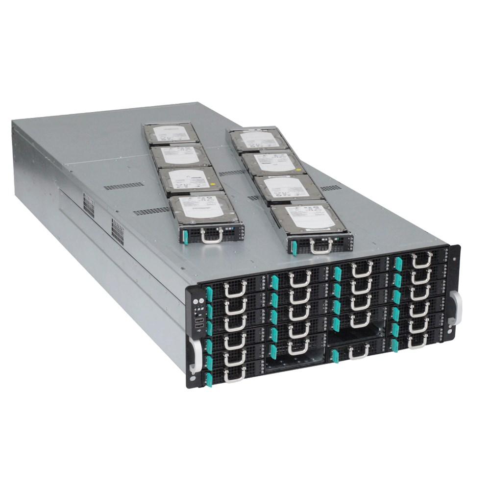 Сервер хранения данных ASUS S4096Z - вид под углом - полные корзины для жёстких дисков - влезает 4 HDD 3,5 дюйма