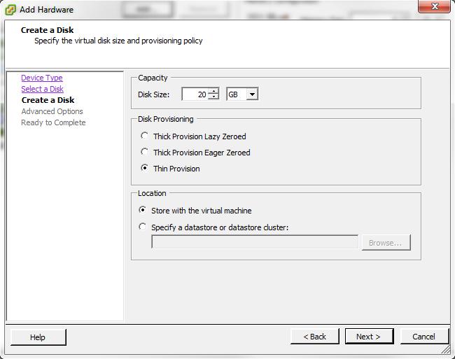 Создание диска хранения в ESXi