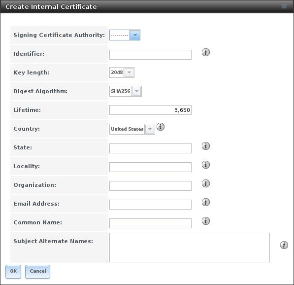 Создание нового сертификата в FreeNAS