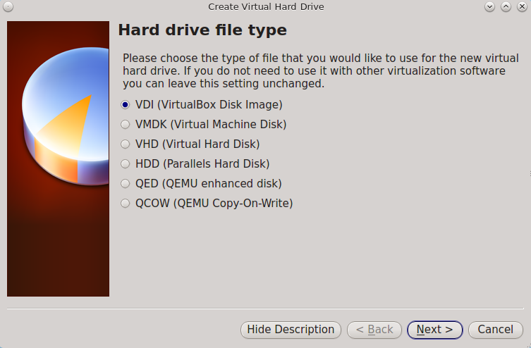 Создание нового виртуального мастера жестких дисков
