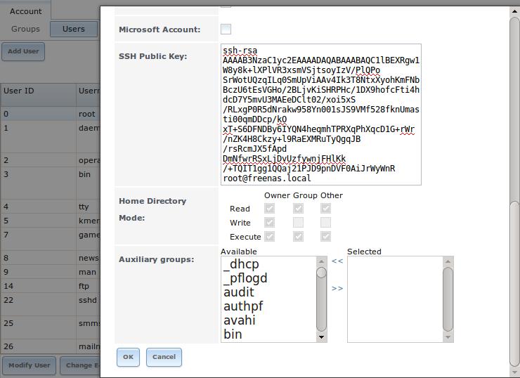 Вставка открытого ключа пользователя SSH в FreeNAS