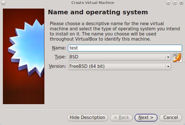Введите имя и выберите операционную систему для новой виртуальной машины
