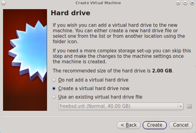 Выберите «Существующий» или «Создать новый виртуальный жесткий диск»