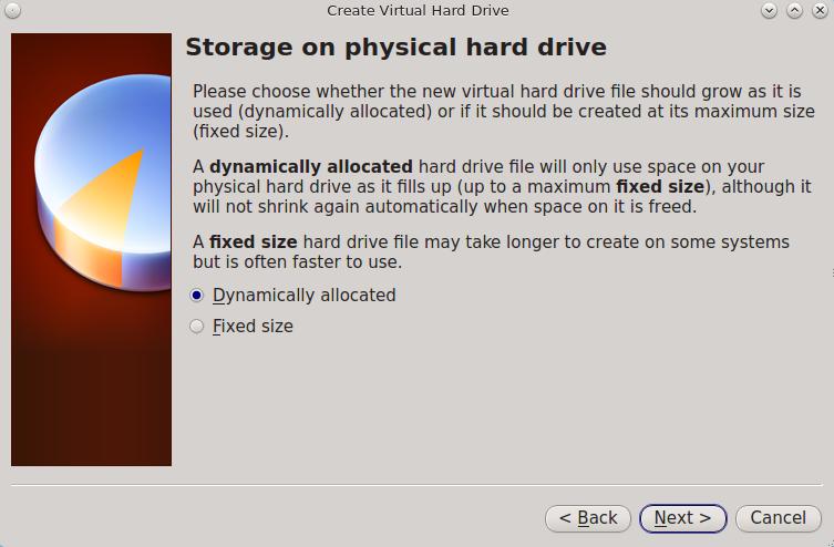 Выберите Тип хранилища для виртуального диска
