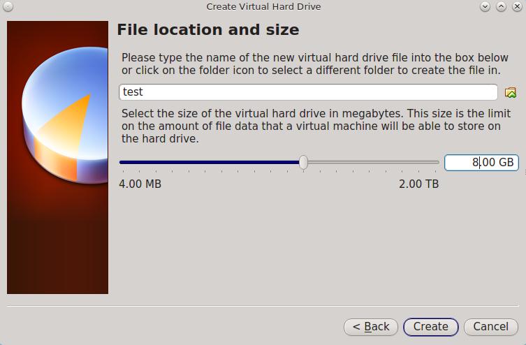 Выберите имя файла и размер виртуального диска