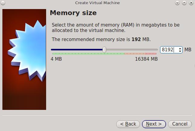 Выберите объем памяти, зарезервированный для виртуальной машины