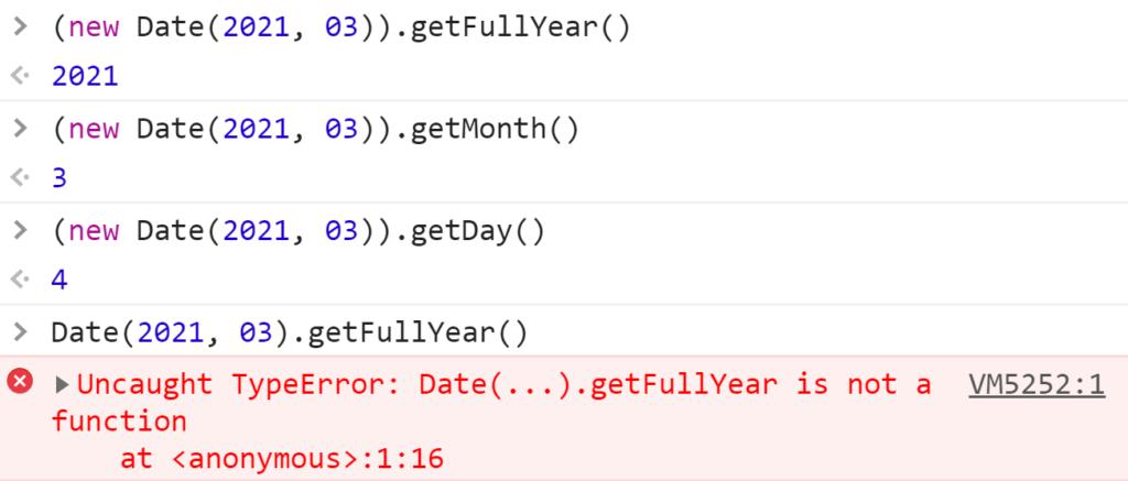 Без оператора new это просто строка и методы Date не работают - JavaScript