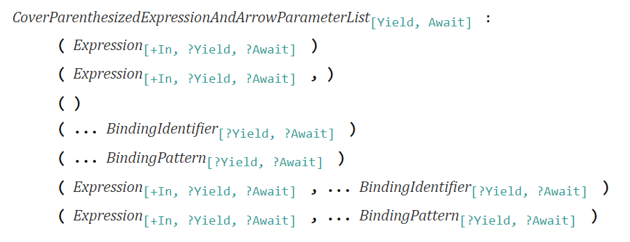 CoverParenthesizedExpressionAndArrowParameterList - ECMAScript