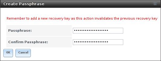 Добавление или изменение парольной фразы в зашифрованный том FreeNAS