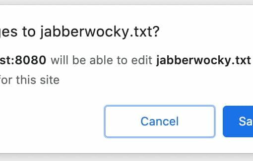 Подсказка пользователю, запрашивающему разрешение на запись в файл.
