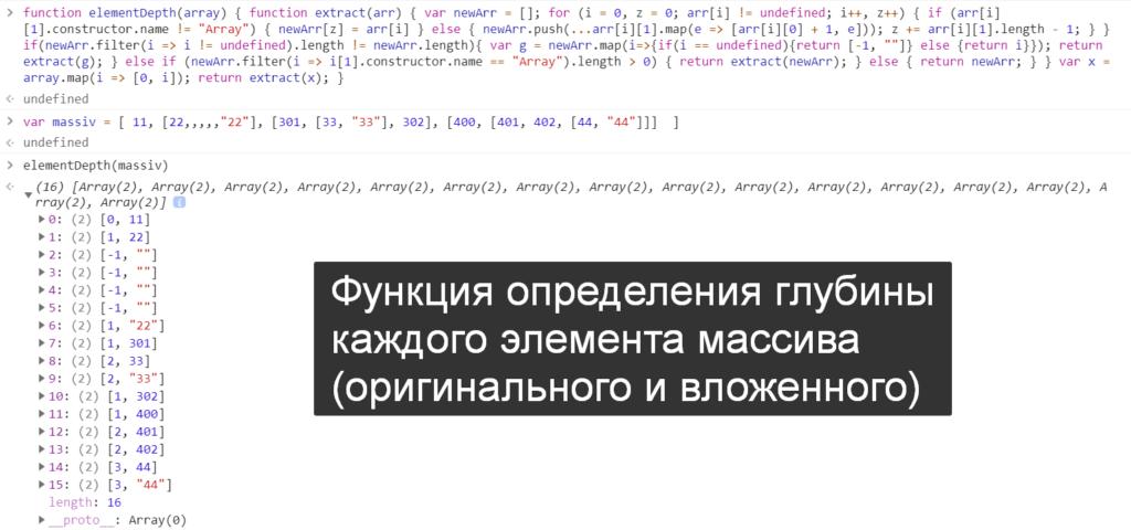 Функция определения глубины--каждого элемента массива--(оригинального и вложенного) - JavaScript