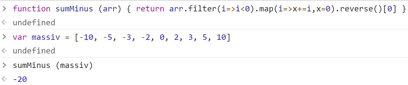 Функция сложения всех отрицательных чисел в массиве - JavaScript