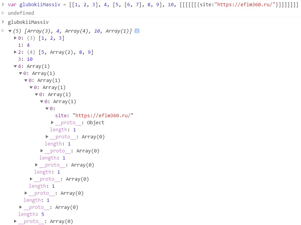 Глубокий массив - JavaScript