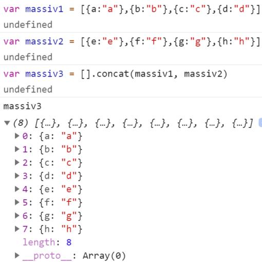 JavaScript - Как склеить два массива с объектами?