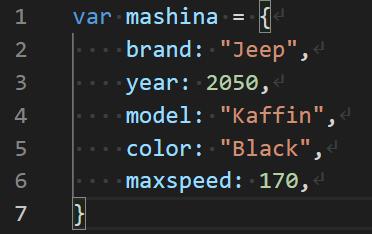JavaScript объект на нескольких строках кода - VSC