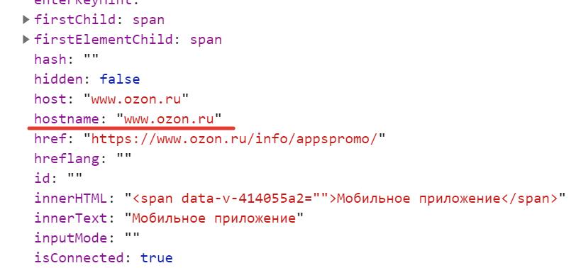 Ключ hostname - JavaScript