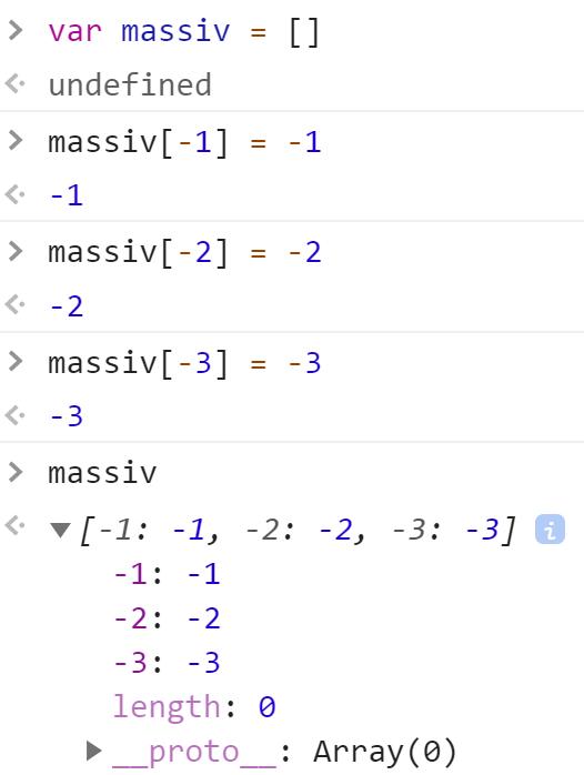 Массив с отрицательными индексами - JavaScript