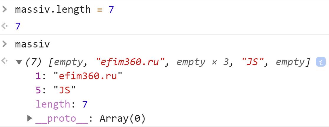 Массив с пустым началом и концом - JavaScript
