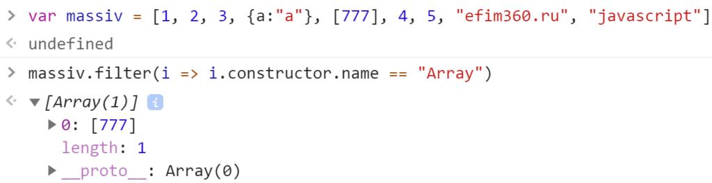 Метод filter нашёл массив в массиве - JavaScript