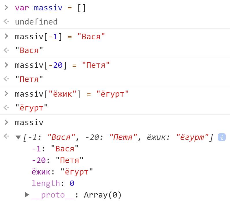Не стандартный массив - JavaScript
