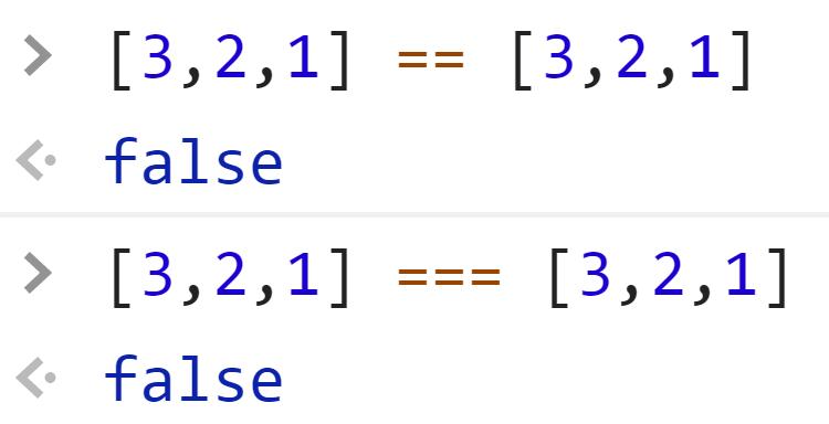 Неравенство идентичных массивов - JavaScript