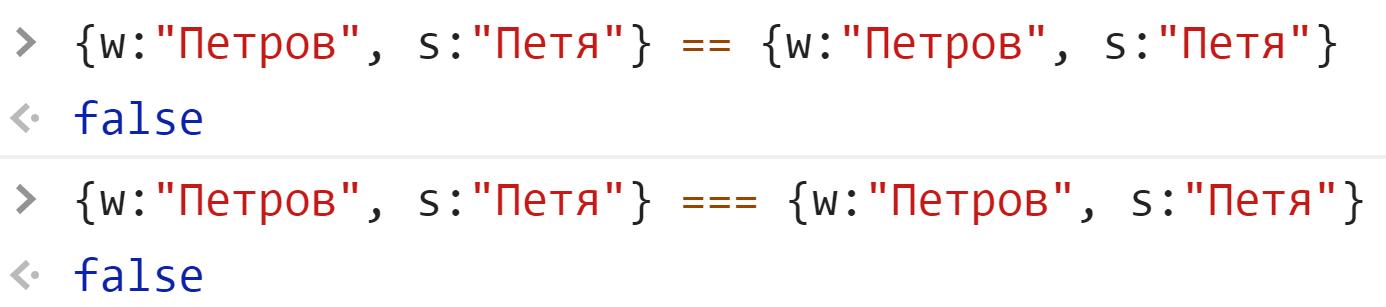 Неравенство идентичных объектов - JavaScript